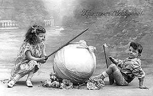 С ПРАЗДНИКОМ СВ. ПАСХИ. Хромолитография. Издание HWB, Германия. 1900-е гг.